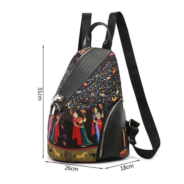 Elephant-Print Shoulder Bag Fashion Women Backpack Colored Print Travel Rucksack Nylon Hand Bag Girls Daypack For School Journey