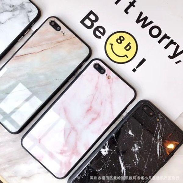 Moda new marble telefone de vidro temperado phone case para apple iphone x 8 7 6 6 s plus todo o caso inclusive soft edge cover para iphone xs max xr coque