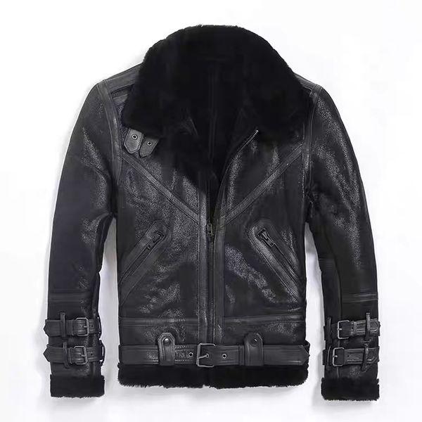 Nuevo 2019 Original Shearling Fur Coat Men Short Leather Fur Coat Winter Warm Outwear Motor Chaqueta Avirex Men Leather Jacket Sheep