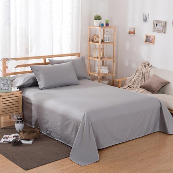 Folha de cama Início têxtil impressão Cor Sólida Folhas Planas Penteado Lençóis de Cama de Algodão Lençol para o Rei Queen Size