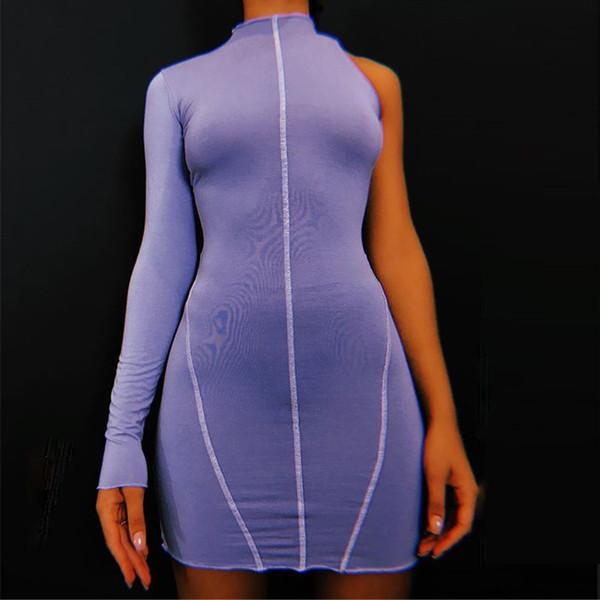 Las mujeres un hombro vestido púrpura 2019 Otoño de algodón mini vestidos bodycon