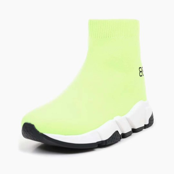 kid shoes running sport sneaker green color rubber sole slip on basketabll shoe for baby boy girl send with box EU 24-35