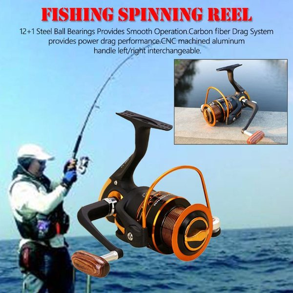 12+1bb spinning fishing reel gear 500-9000 series metal front drag handle spool saltwater fishing accessories thumbnail