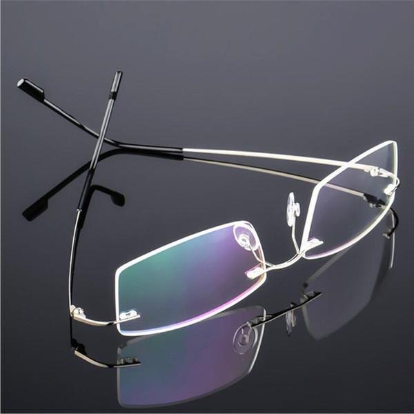 Lunettes de vue sans monture en titane pour hommes classiques, monture optique Spring Temple Myopia, lunettes de vue sans cadre ultra-légères F858