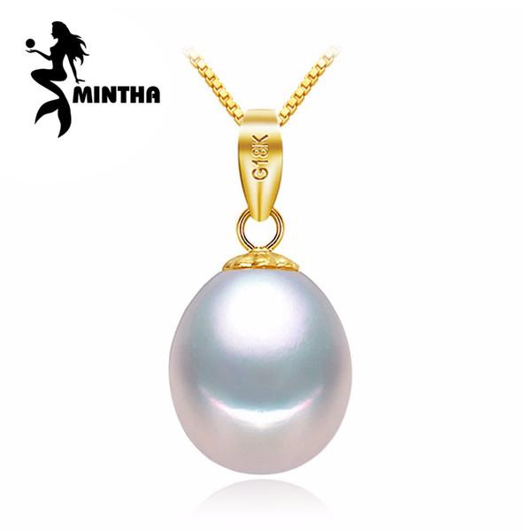 MINTHA oro amarillo de 18 quilates joyería de perlas pendientes cornamentas collares para amantes colgantes de perlas envían collares de plata s925