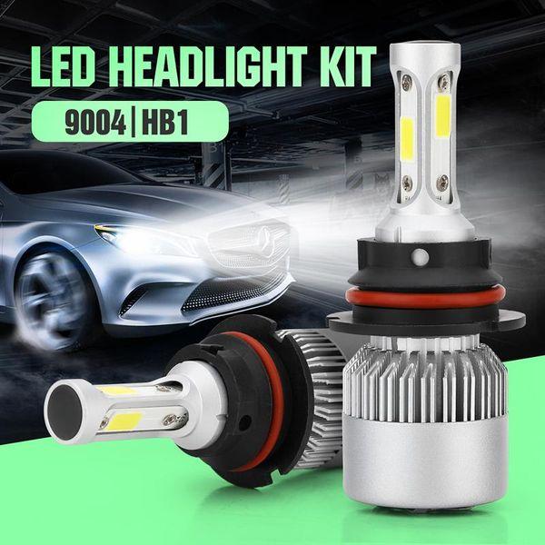 2pcs / set HB1 9004 6000K phare HB1 COB LED Lampe de phare de voiture phare de phare antibrouillard Kit Cool White