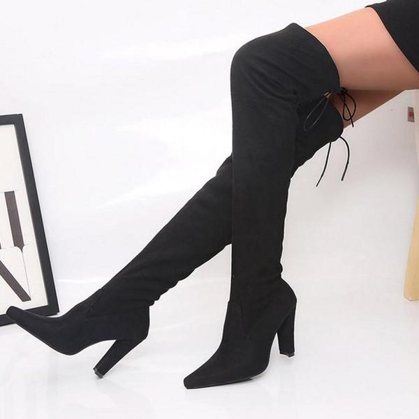 2019 New Black Materials Synthetic Suede Flat Heel Long Mujer Botas Cómodas sobre la rodilla Botas altas