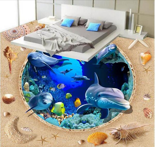 3d revestimento de pvc foto personalizada Papel de parede auto-adesivo Sea World Dolphin Shell Beach home decor 3d murais de parede papel de parede para sala de estar