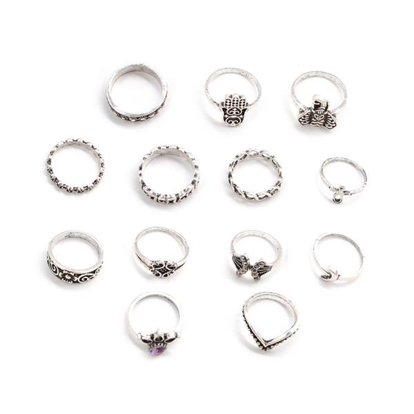 Oro y plata de la vendimia corona de la joyería gran palma elefante conjunto de 13 piezas anillo nudillo femenino sol y luna elefante fatima rhinestone nudillo conjunto