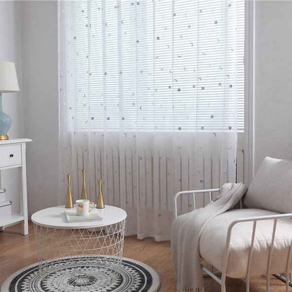 smile faces stars moon printing sheer curtain room valances window curtain panel for home bedroom panel door sheer
