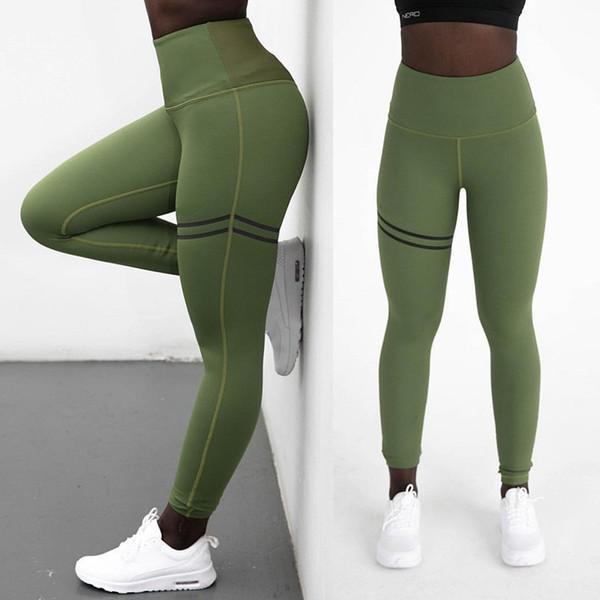 Female High Waist Pants Women Solid Print Yoga Leggings High Elastic Sports Fitness Running Legging Gym Push Up Pants 2019 New