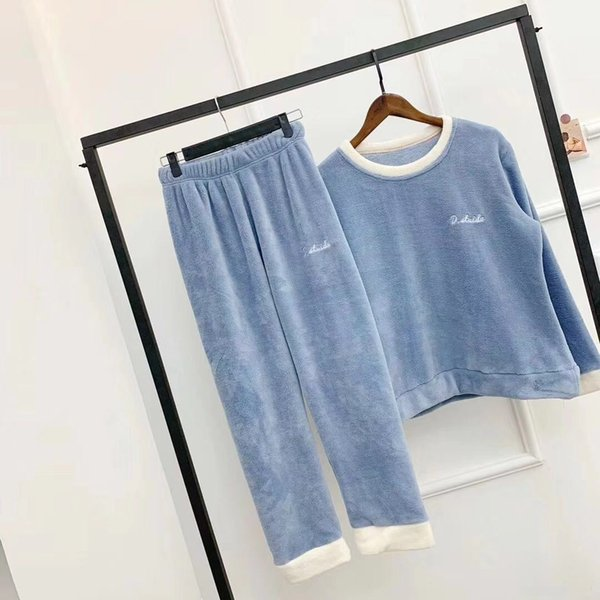 Ropa interior de mujer Ropa de dormir Conjuntos de pijamas Camisetas de manga larga Pantalones largos trajes Mujeres Ropa de dormir Ropa de dormir Pantalones conjuntos Ropa de dormir suave y suave Color sólido