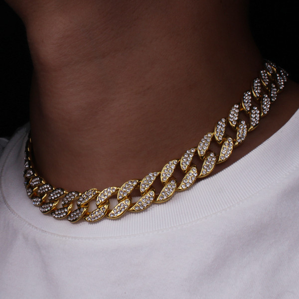 Mens Gold Iced Out Cadena Moda Hip Hop Collar Joyas Gold Miami Cuban Link Cadenas para hombre