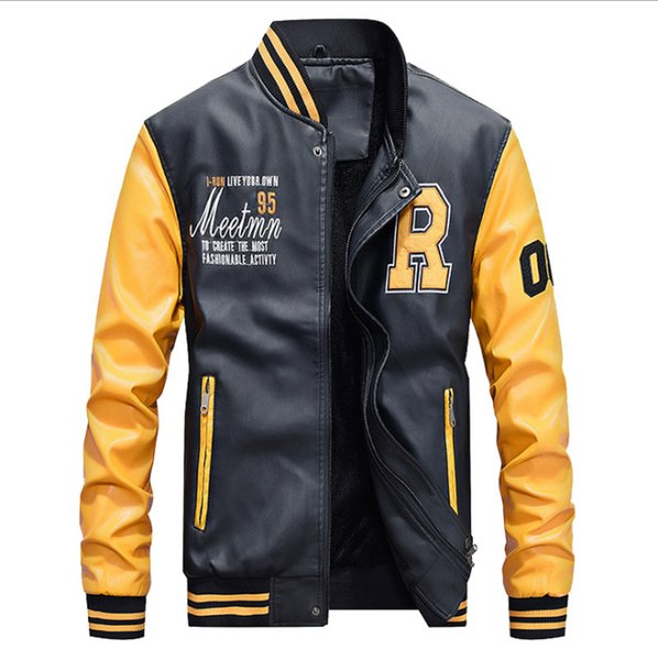 precio bajo tienda en línea talla 40 Compre Chaqueta De Cuero Para Hombre Béisbol Bomber Chaquetas ...