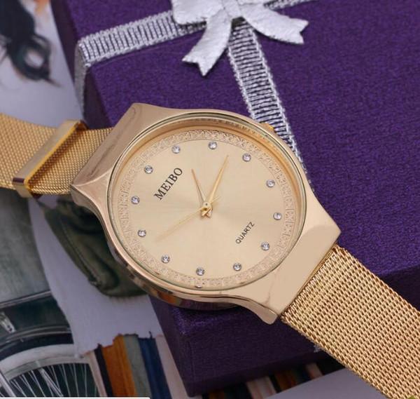 Korean fashion trend steel belt ultra-thin watch female models men's network belt lovers water diamonds English table