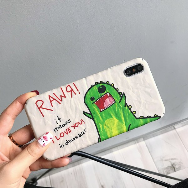 finest selection 35241 4aed2 For Iphone Xr Xs Max Phone Case Original Cartoon Dinosaur Graffiti 6 7 8 X  Plus Frosted All Inclusive PC Hard Cell Phone Case Cases For Cell Phones ...