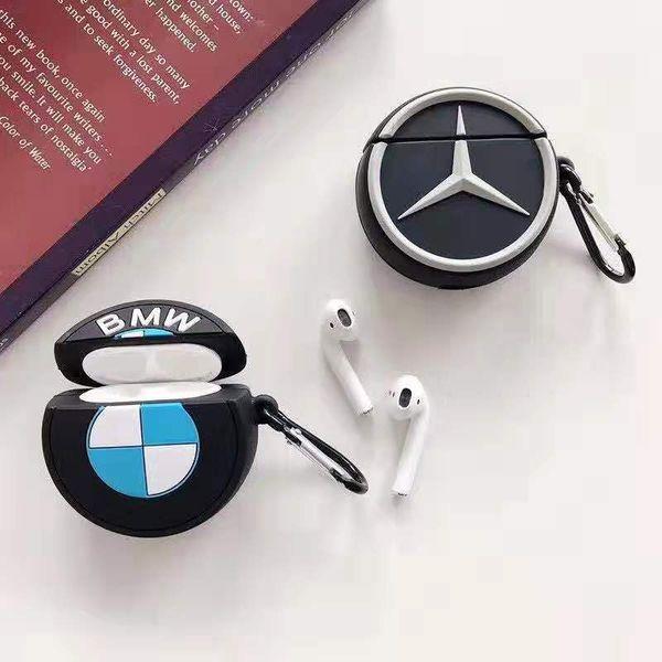 Designer airpods casos capa protetora com cordão moda protetor de fone de ouvido para airponds com marca de logotipo do carro projeto 2 estilos disponíveis