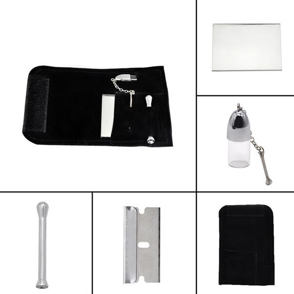Cuir Tabac nouvelle Sac pochette Kit Snuff Ronfler Sniffer verre Valise de rangement cuillère Bouteille design innovateur portable pour fumeurs outil DHL