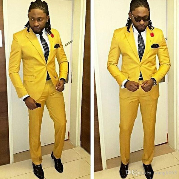 Handsome Yellow Prom Dresses Men Tuxedos 2018 Two Piece One Button Groomsmen Mens Suits New (Jacket + Pants)