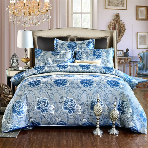 2018 Spring Jacquard bedding set luxury stain bed set blue flower bed cover sheet 4pcs/set Queen king duvet set cover home linen