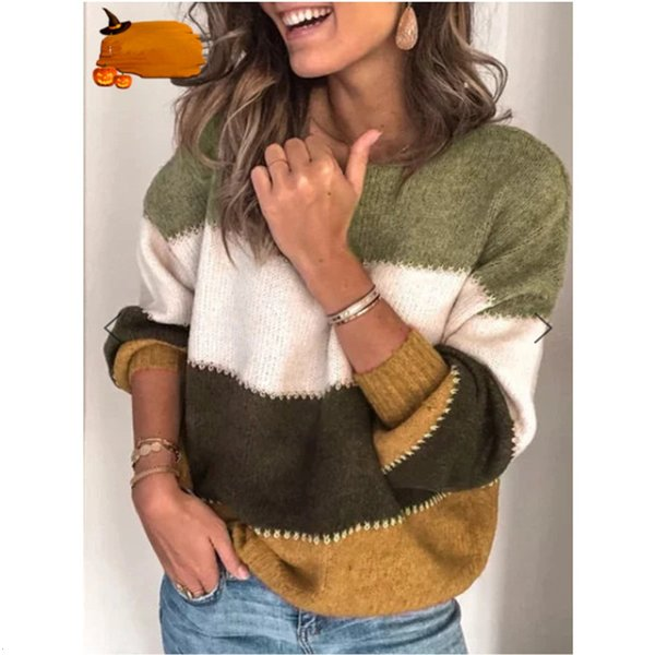 Mulheres Striped Camisolas Casual Patchwork Cor Mid-longo Jumper Tops Moda O-pescoço manga comprida Pullovers Plus Size For Ladies