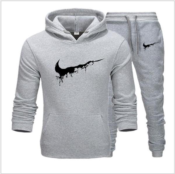 Marca Hombres Establece otoño invierno gruesa lana Sporting Traje 6XL la camiseta + pantalón para hombre del chándal sistemas de la ropa de gran tamaño S-3XL