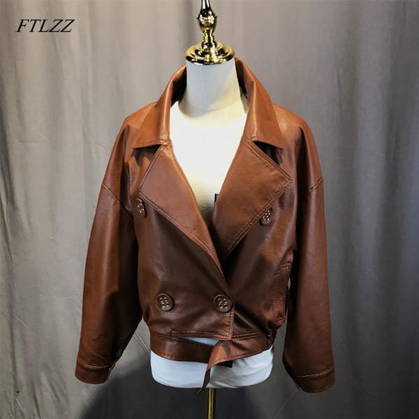 FTLZZ Pu Chaqueta de cuero Mujer Faux Leather Marrón Negro Abrigo corto Mujer Elegante Chaqueta bomber Biker Chaquetas