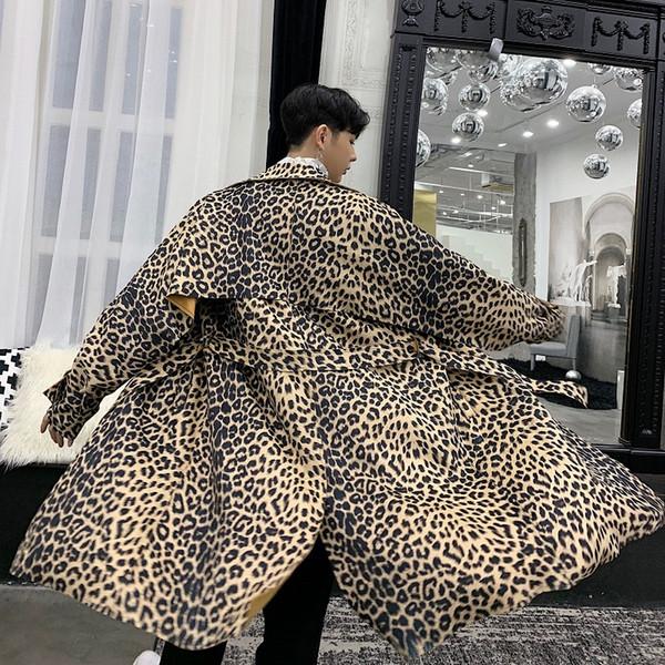 2018 Coat Men High-end Leopard Print Long Ribbon Uomo Gabardina Hombre Giacca a vento Kaban Erkek Trench Coat Uomo Abrigo Hombre