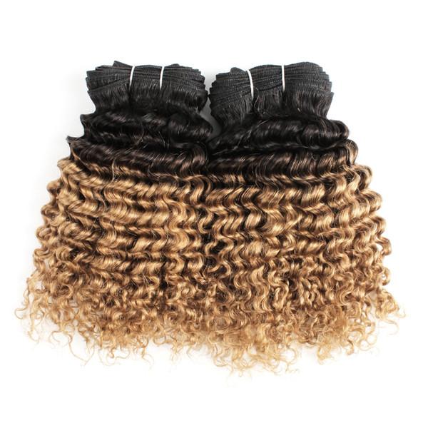 Farbige brasilianische Haarbündel 100g tiefe lockige T1B / 27 blonde Ombre Haarwebart bündelt kurze Bob-Art-Menschenhaar-Webarten