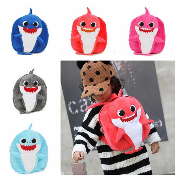 Baby Shark Cartoon Backpack Kids 3D Cute Plush Animal Stuffed School Bag Children Kindergarten Outdoor Backpacks 20pcs OOA6254