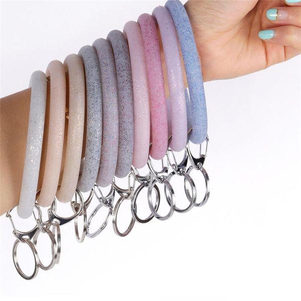 2019 Fashion Soft Silicone Wristlet Keychain Keyring Wearable Car Keychain Big O-Ring Wrist Strap Women Handbag Keyrings Accessories M178Y