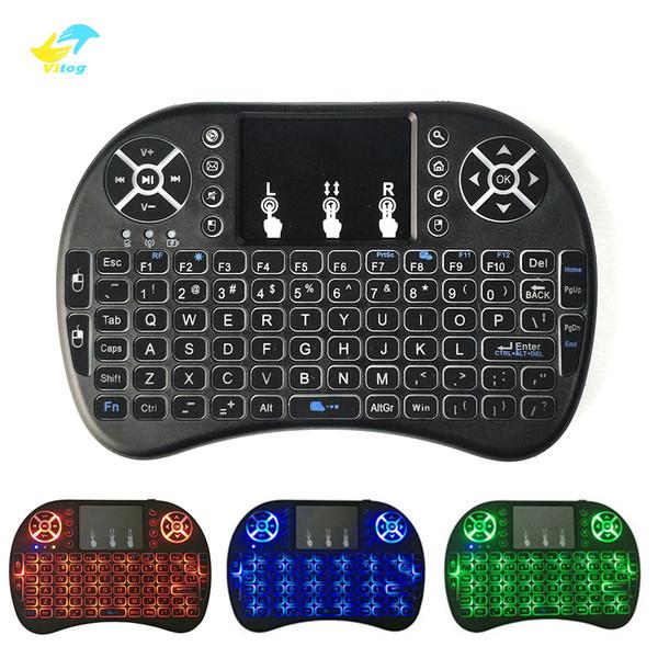 Mini Kablosuz Klavye 3 renk backlite 2.4 GHz İngilizce Rusça Hava Fare Android TV Box Için Uzaktan Kumanda Touchpad blacklight Tablet Pc