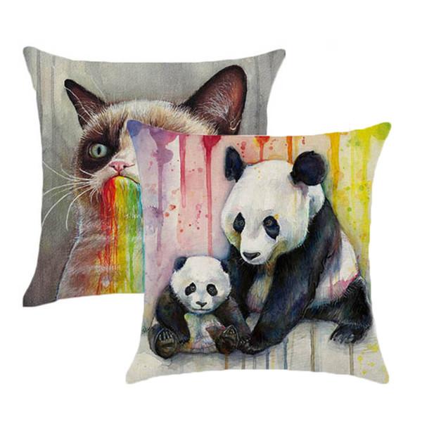1 Pc Novo Capa de Almofada Animais De Linho De Algodão Gato Panda Dos Desenhos Animados Almofada Mural Início Decorativo Carro Sofá Lance Fronha