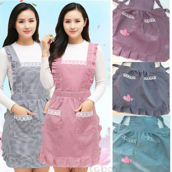Women Lady Kitchen Apron Dress Bib Adjustable Anti-wear Cute Restaurant Cooking Baking Barbecue Aprons Dress With Pockets