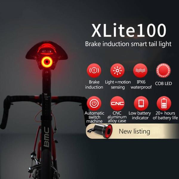 XLITE100 Bicycle Flashlight Bike Rear Light Auto Start/Stop Brake Sensing IPx6 Waterproof LED Charging Cycling Taillight #24517