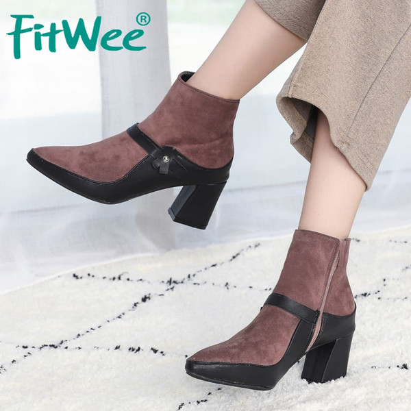 fitwee fashion office ladies ankle boots pointed toe zipper high heels shoes autumn winter warm women footwear size 35-39
