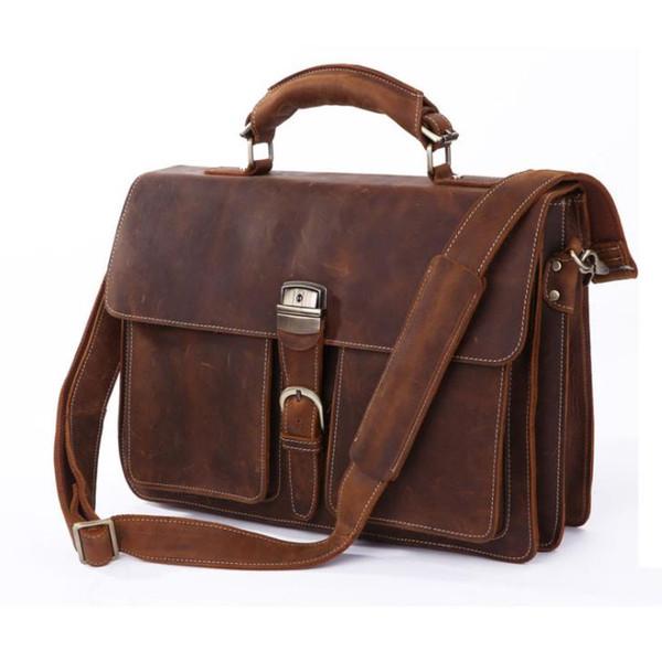 Men's Bag Mad Horse Fur Retro Men's Bag Personality Large Handbag Leather Slant Bag