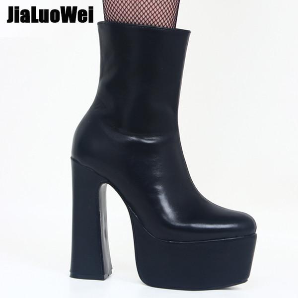 Jialuowei Mujeres Botines 15 CM Super High Heel Platform Zipper Block Chunky Heels Zapatos de fiesta de baile de boda Tamaño grande US5 ~ US15