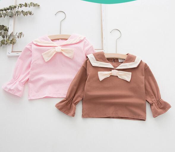 top popular Girl kids clothing shirt Pet Pan Collar Long Sleeve Solid Color Design High quality 100% cotton kids shirt clothing 2021