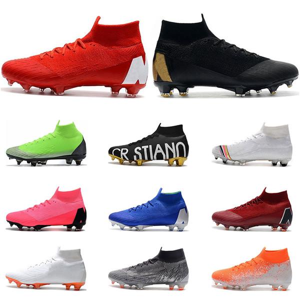 Nike Mercurial Superfly VI 360 Zapatos De Fútbol FG Negro Oro Blanco Rojo Azul Plata Ronaldo Neymar Hombres Niños Botas De Fútbol Tacos Tamaño 39 45