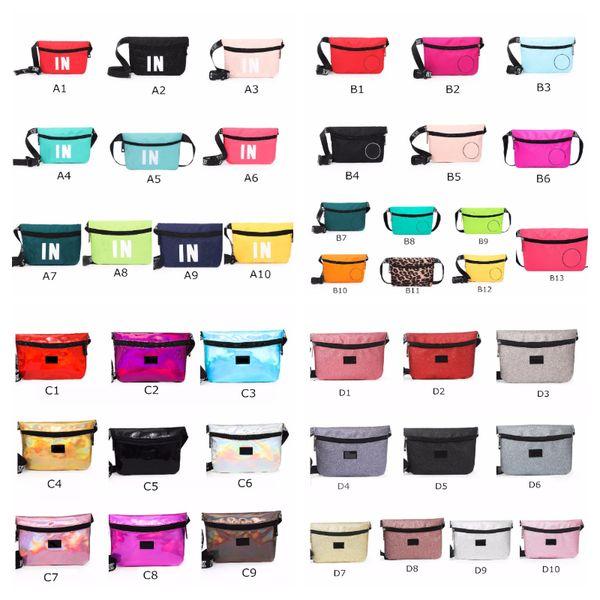 top popular Pink Black Fanny Packs 42 Colors Waist Belt Bag Fashion Beach Travel Bags Waterproof Handbags Purses Mini Outdoor Cosmetic Bag 2019