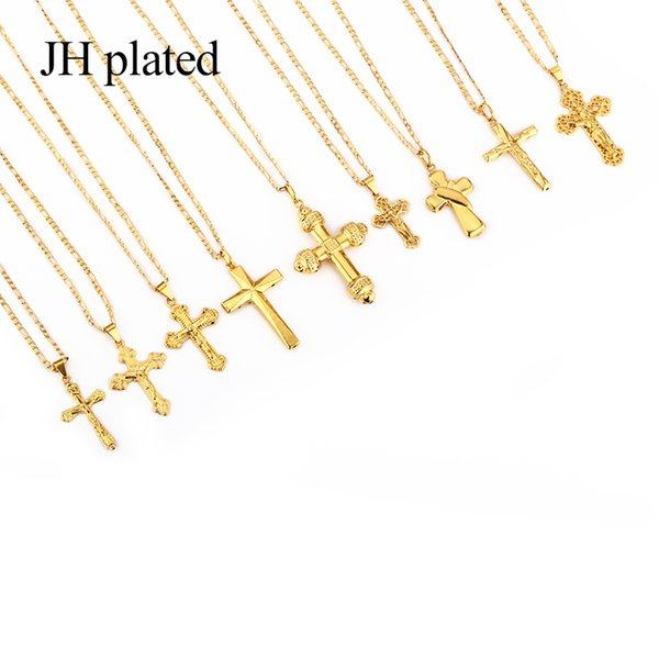 JHplated 2019 New Fashion jewelry Gold Color crucifix Jesus Religious Cross Necklaces Pendant for Women/Men Christian length 60cm