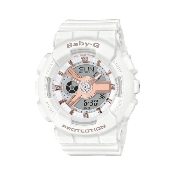 La vendita calda di sport della vigilanza ragazza bianca lunetta in gomma moda G-SHOCK signore ammortizzante vigilanza del regalo studentessa ga110 impermeabile orologio BA110