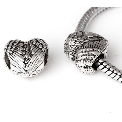 100 Teile / los Tibetischen Silber Großes Loch Perlen Herz Engelsflügel Spacer Perlen Für Die Schmucksachen DIY Armband Halskette 11x11,5mm Loch 4,5mm
