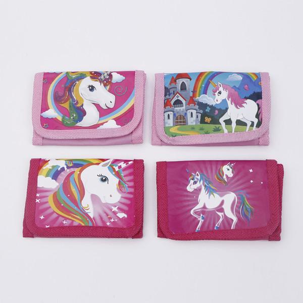 Unicorn Purses Girls Women Wallet Fold Pocket Bags Pink Rose Cartoon Stationery Storage Organizer Bag Kids Gift Purses B11