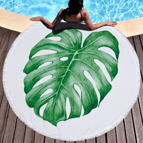 Lannidaa Toalla de playa redonda grande de verano con borlas Plantas tropicales Impresión Círculo Toallas de baño para adultos Natación Estera de yoga
