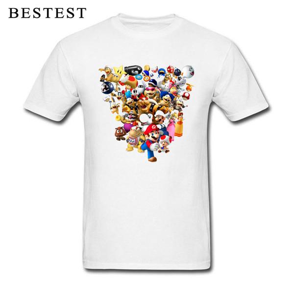 Super Mario T-shirt Men Mario Bros All Star Tshirt Pixel Arcade Gamer T Shirt 3D Plumber Cartoon Tees Cotton White Streetwear