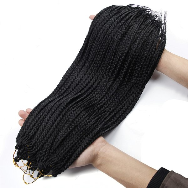 Tamaño de la caja sintética de pelo Caja Trenzas Ombre Hair Braiding Extensión 3X Medio trenza de pelo Negro T27 / 30 / ERROR ganchillo Trenzas Kanekalon
