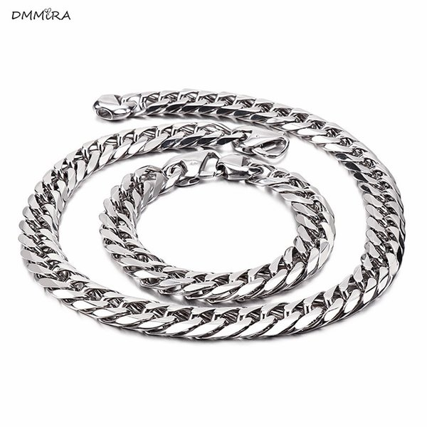 Chain jewelry set cool,rock men gift stainless steel bracelet necklace trendy party sets gift men necklace