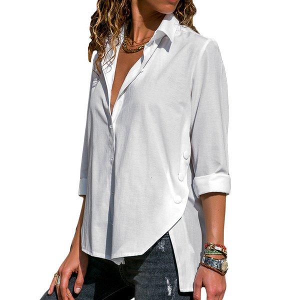 Chemisier Chemise 2019 pur femmes manches longues Chemisier blanc en vrac Casual chemise élégante de bureau dames Wears Bouton d'automne T-shirts Tops SH190922